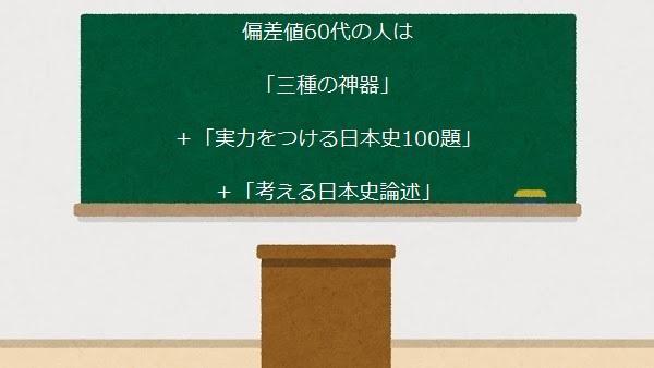 偏差値60代の人は 「三種の神器」 +「実力をつける日本史100題」 +「考える日本史論述」