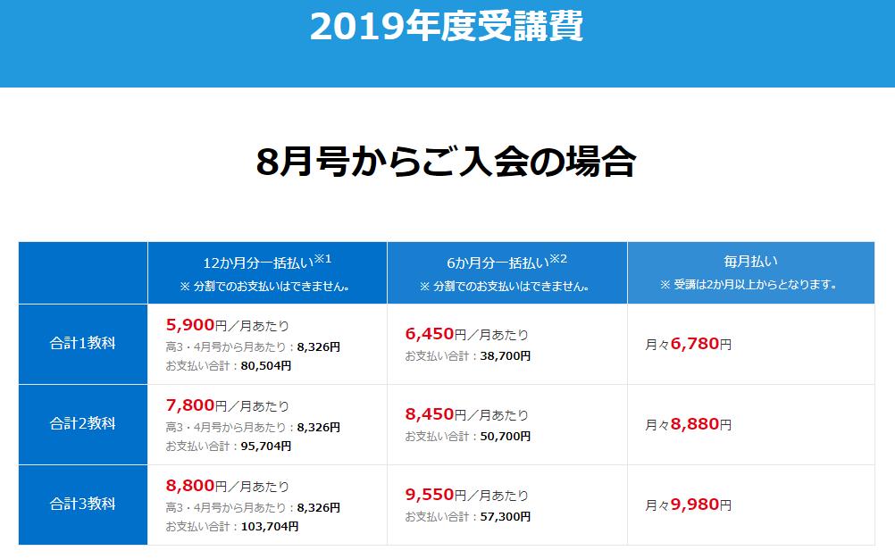 進研ゼミ高校2年生料金